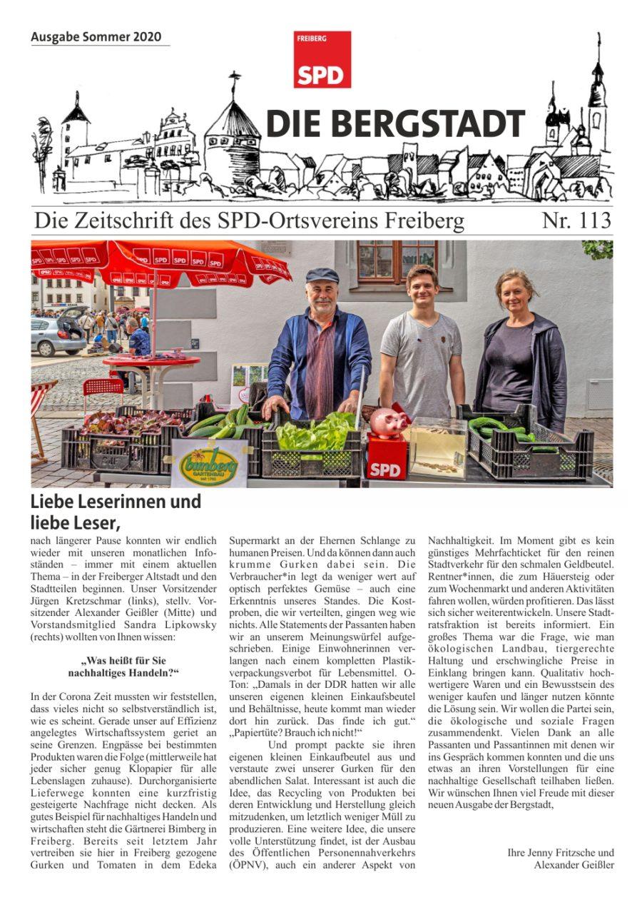 Die Bergstadt - Die Zeitschrift des SPD-Ortsvereins Freiberg - Ausgabe Sommer 2020 - N° 113 - Seite 1