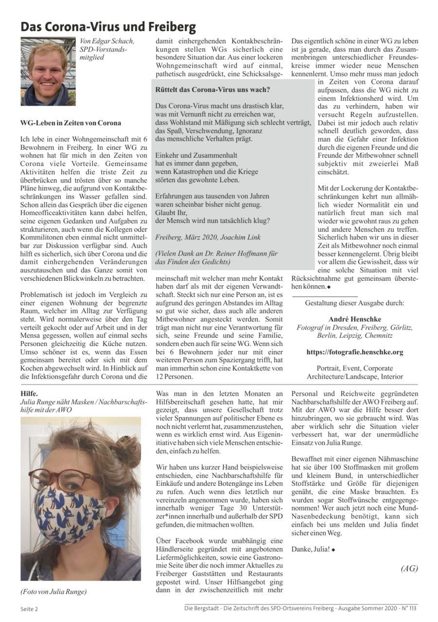 Die Bergstadt - Die Zeitschrift des SPD-Ortsvereins Freiberg - Ausgabe Sommer 2020 - N° 113 - Seite 2