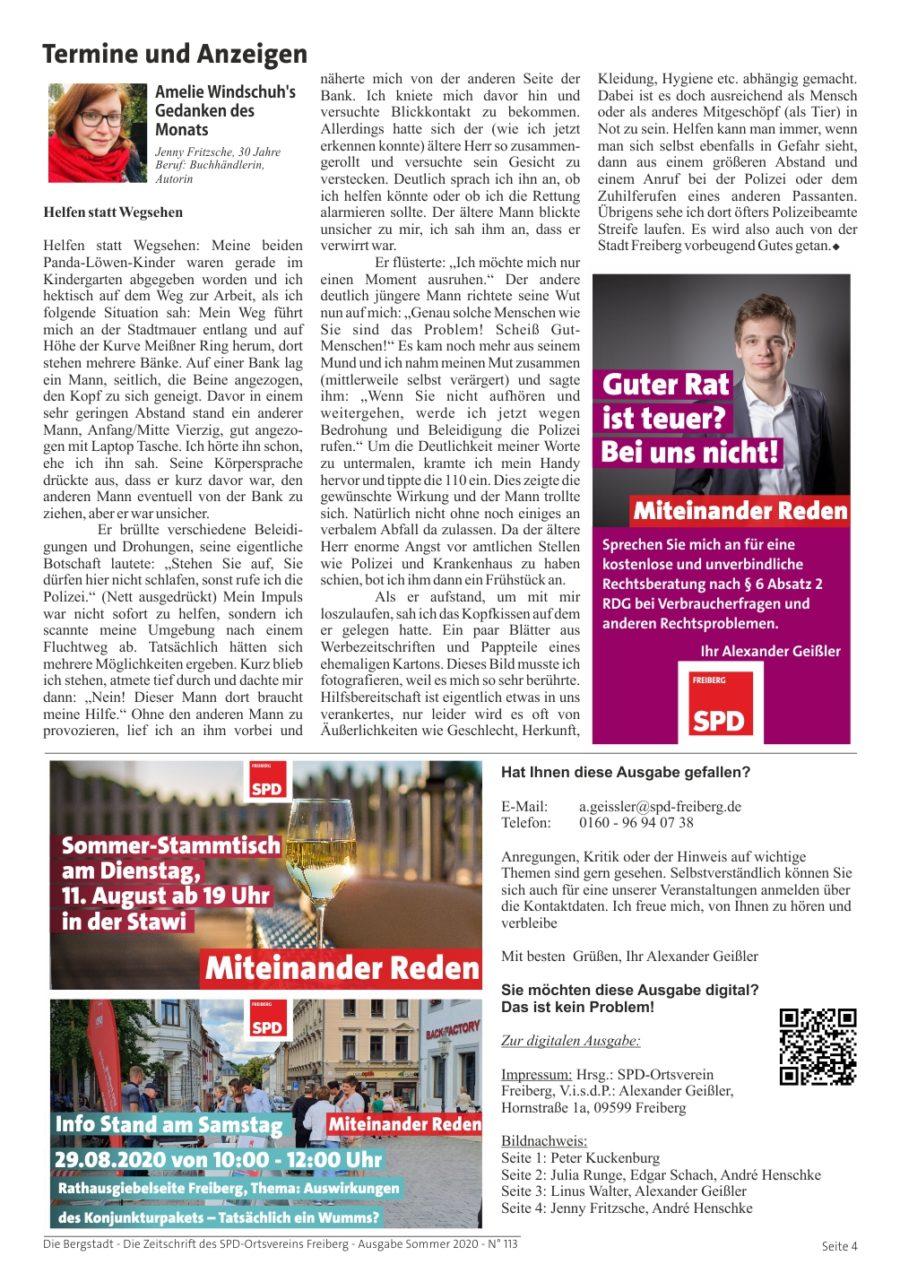 Die Bergstadt - Die Zeitschrift des SPD-Ortsvereins Freiberg - Ausgabe Sommer 2020 - N° 113 - Seite 4