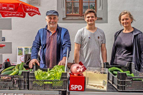 SPD Infostand auf dem Rathausplatz in Freiberg, Juli 2020